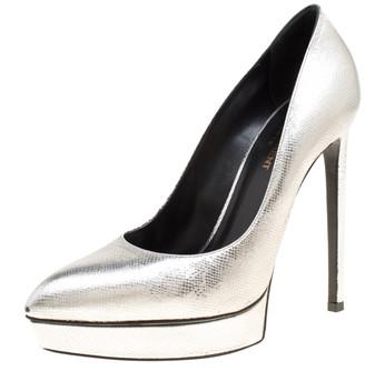 Saint Laurent Paris Silver Leather Janis Pointed Toe Platform Pumps Size 39