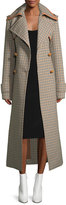 Nina Ricci Long Check Wool Coat