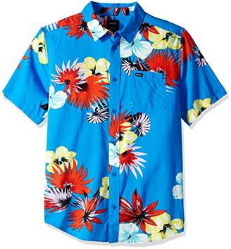 RVCA Men's Romeo Floral Short Sleeve Woven Button Front Shirt