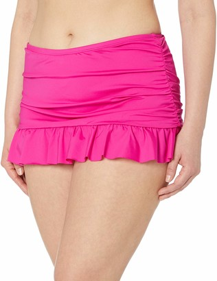 Kenneth Cole Reaction Women's Plus Size Skirted Hipster Bikini Swimsuit Bottom