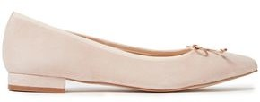 French Sole Penelope Bow-embellished Suede Point-toe Flats