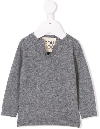 Douuod Kids Notched Neck Sweater