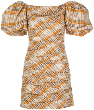 KHAITE Shelly puff-sleeve check dress