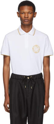 Versace White Medallion Polo