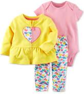 Carter's 3-Pc. Cotton Peplum Jacket, Striped Bodysuit & Heart-Print Pants Set, Baby Girls (0-24 months)