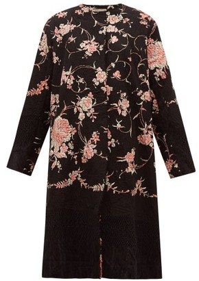 By Walid Tanita 19th-century Floral-embroidered Silk Coat - Black Pink