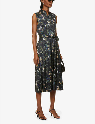 Vince Floral-print satin midi dress
