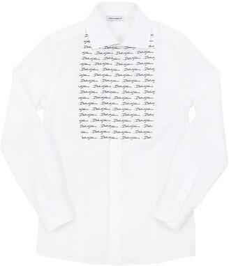 Dolce & Gabbana Stretch Cotton Poplin Shirt W/logo Satin