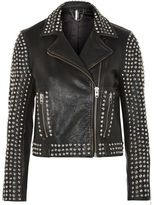 Topshop Studded leather biker jacket