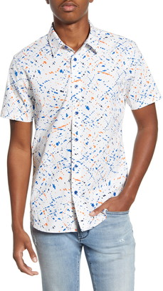 John Varvatos Doug Spatter Print Short Sleeve Button-Up Shirt