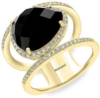Effy 14K Yellow Gold, Black Onyx Diamond Cutout Ring