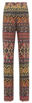 Etro Striped Wool-blend Wide-leg Trousers - Womens - Multi