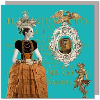 Miss Jeeves Collection Set Of Five Greeting Cards With Envelopes featuring a Vintage Tea Tray