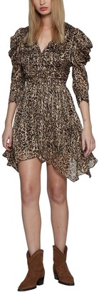 Walter Baker Jenson Puff Shoulder Leopard Print Dress