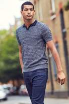 Next Mens Navy Knitted Polo - Blue