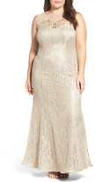 Xscape Evenings Embellished Illusion Lace Mermaid Gown (Plus Size)