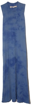 Raquel Allegra Sleeveless Drama Maxi Dress in Blue Tie Dye