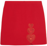 Christopher Kane Love Heart Embroidered Cutout Crepe Mini Skirt