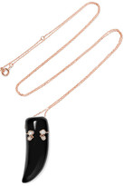 Pascale Monvoisin Lara 9-karat Rose Gold, Diamond And Resin Necklace
