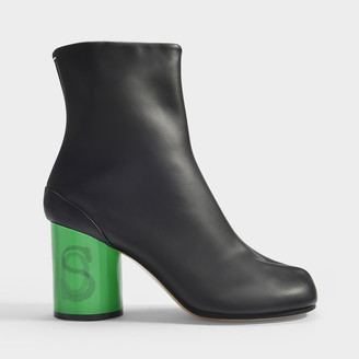 Maison Margiela Tabi Hologram Ankle Boots In Black Calfskin