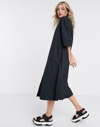 Selected shirt dress with pleated back in black