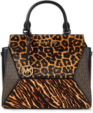 MICHAEL Michael Kors Paneled Printed Calf Hair And Faux Leather Tote
