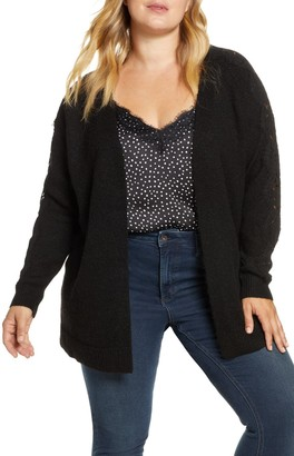 Vero Moda Merla Lace Sleeve Open Front Cardigan (Plus Size)