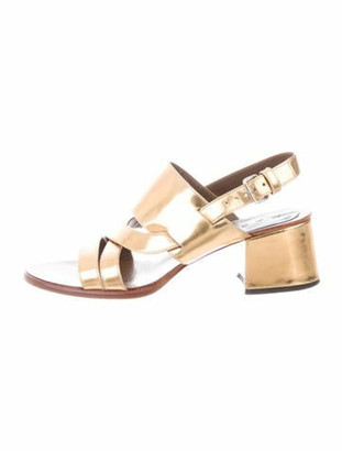 Marni Patent Leather Slingback Sandals Gold