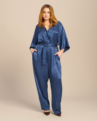 Sally LaPointe Floral Satin Kimono Belted Jumpsuit
