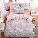Mangogo Colorful Floral 4PC Duvet Cover Set for Girls Kids Adult Cotton Full Size Pink