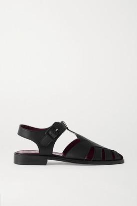 STAUD Brady Cutout Leather Loafers - Black