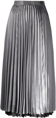 Junya Watanabe High-Waisted Pleated Satin Midi Skirt