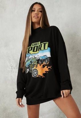 Missguided Black Sport Graphic Sweater Dress