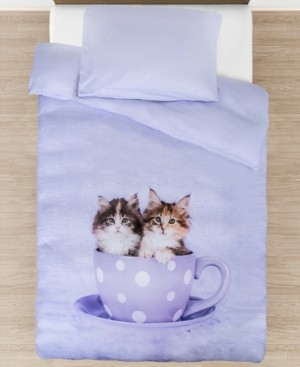 Tadpoles Toddler Tea Cup Kitties Duvet Cover Set Bedding