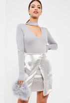 Missguided Tall Grey Choker Neck Plunge Bodysuit