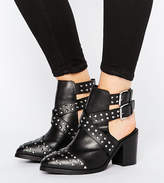 Asos Rocky Wide Fit Leather Studded Cut Out Ankle Boots