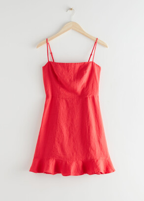 And other stories Spaghetti Strap Linen Mini Dress