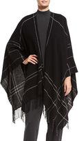 Eileen Fisher Wool-Blend Twill Graph Serape, Plus Size