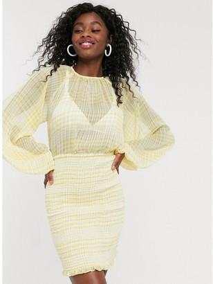 C/Meo Stealing Sunshine check mini dress in yellow check