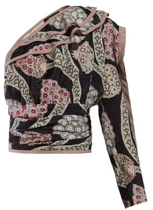 Isabel Marant Joren Floral Print One Shoulder Top - Womens - Black Multi