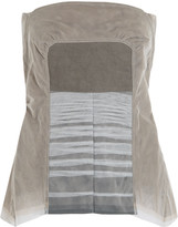Rick Owens Twill-paneled mesh top