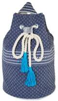 Drawstring Cotton Backpack Handcrafted in Mexico, 'Day Trip in Blue'
