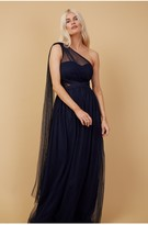 Thumbnail for your product : Little Mistress Bridesmaid Karter Navy Bow Detail One-Shoulder Maxi Dress