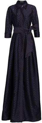 Teri Jon By Rickie Freeman Taffeta Shirt Gown
