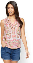 New York & Co. Soho Soft Shirt - Sleeveless Bubble-Hem Blouse - Paisley