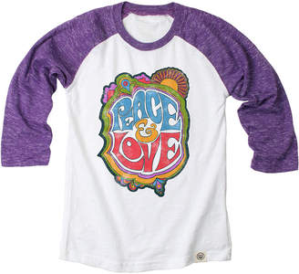 Wes And Willy Wes Willy Peace & Love Cloudy Yarn Raglan Tee