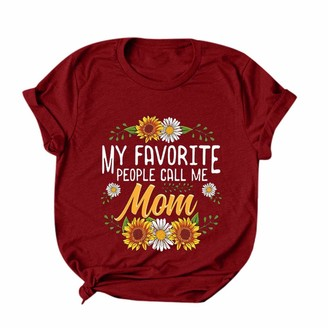 CUTUDE Women's T-Shirt Mother's Day Round Neck Short Sleeve Solid Color Tops Ladies Fashion Plus Size Print Tank Blouses Summer (Wine-B XL)