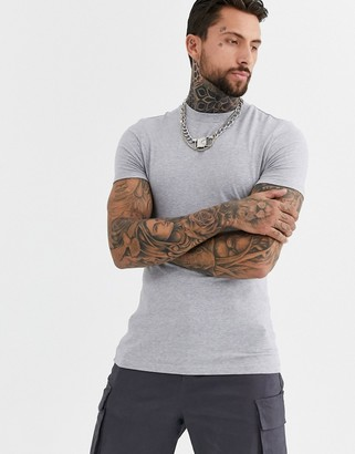 Asos Design DESIGN muscle fit t-shirt with crew neck in gray marl