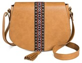 T-Shirt & Jeans Women's Faux Leather Saddle Handbag with Ribbon and Tassel