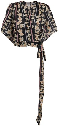 Forte Forte Striped And Floral Print Wrap Blouse
